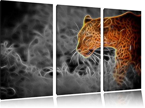 Leopard Neon Art3-Teiler Leinwandbild 120x80 Bild auf Leinwand, XXL riesige Bilder fertig gerahmt mit Keilrahmen, Kunstdruck auf Wandbild mit Rahmen, gänstiger als Gemälde oder Ölbild, kein Poster oder Plakat