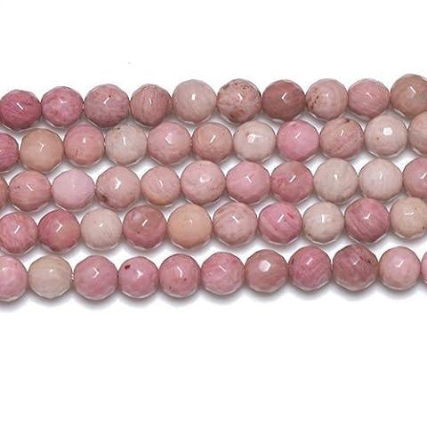 Fil De 62+ Rose Rhodonite 6mm Perles Rondes Facetté - (GS2776-1) - Charming Beads