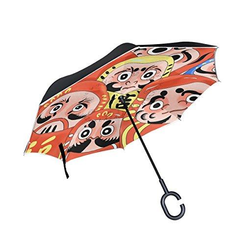 ISAOA Paraguas grande invertido paraguas resistente al viento doble capa construcción reversible plegable paraguas para coche lluvia uso al aire libre, mango en forma de C paraguas japonés de pie