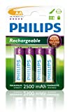 Philips, AA Rechargeable Batteries (NiMH 2500mAh) Pack of 4 Pre-Charged Batteries