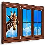 BOIKAL XXLF58-3 3D Effekt Bilder Fensterblick Deko Wandbild fertig gerahmt! Leinwand glanz! Kunstdruck Giraffe, Tiere