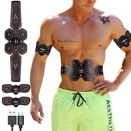 Jaspik EMS Elektrische Muskelstimulation, EMS Bauchmuskeltrainer USB Aufladen Fettverbrennung Massage-gerät Home Fitness Machine leicht zu tragen für Mann Damen Geschenk (6 Pads)