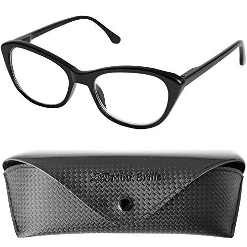 Cateye Lesebrille mit großen Gläsern - mit GRATIS Etui   Kunststoff Rahmen mit Federscharnier (Schwarz)   Katzenbrille für Damen   +3.5 Dioptrien
