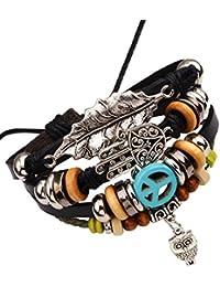 [Sponsored]Young & Forever MenTastic Multilayer Leather Hamsa Hand Peace Owl Leaf Charm Gift Bracelets B570