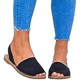 Sandalen Damen Sommer Sandaletten Flachen Frauen Knöchelriemchen Espadrille Plateau Flip Flop Sommersandalen Bequeme Elegante Schuhe Schwarz Weiß Rosa Gr.34-44