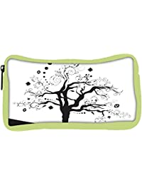 Snoogg Eco Friendly Canvas Abstract Illustration Of A Tree With Lots Of Leaves Student Pen Pencil Case Coin Purse...