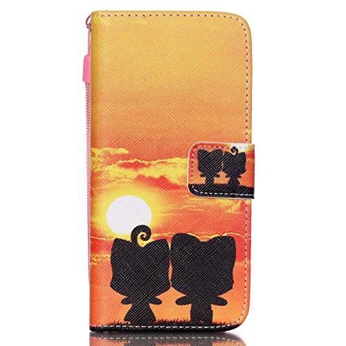 SainCat Apple iPhone 6 Custodia in Pelle,Anti-Scratch Protettiva Corpertura Caso Custodia Per iPhone 6s,Elegante Creativa Dipinto Pattern Design PU Leather Flip Ultra Slim Sottile Morbida Portafoglio  Cartoon volpe