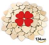 Absofine 134 Stück Herz Holz Scheiben Enthalten 40mm (100 Stück) 60mm (30 Stück) und 60mm Rote Scheiben (4 Stück) für Hochzeit DIY Handwerk Verzierungen Naturholzscheiben