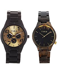 TSAR Wooden Gold & Black Dial Wood Watches- Couple's Tri Modern and Sestina Gold