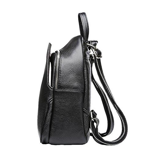 Dissa Q0880 Damen Leder Handtaschen Satchel Tote Taschen Schultertaschen Schwarz
