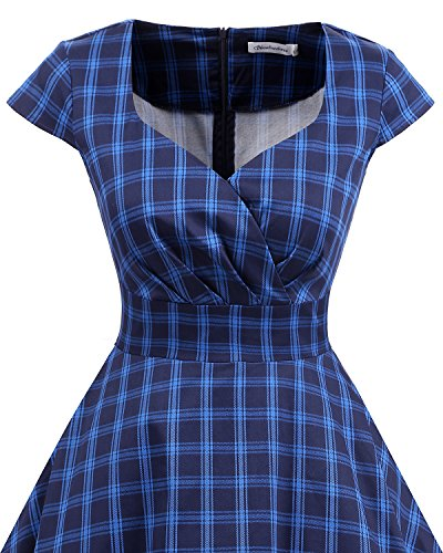 Bbonlinedress 1950er Vintage Retro Cocktailkleid Rockabilly V-Ausschnitt Faltenrock Navy Plaid S - 4