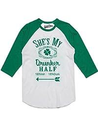 Mens Shes My Drunker Half Funny Couples Saint Patricks Day Drinking Raglan Shirt