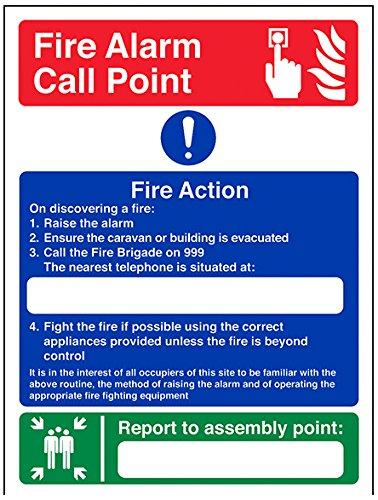 vsafety 12024an-s Fire Action Sign, Fire Action da campeggio/Punto di montaggio, Autoadesivo, verticale, 150mm x 200mm, colore: blu/verde/rosso
