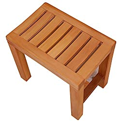 Stools Footstool Work Stool Shower Stool Home Foot Washing Bathing Take A Shower Solid Wood Bathroom Sauna Bedroom ZHANGQIANG (Color : Honey, Size : 40cm)