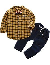 2PCS Bebé Cuadros Camisa+Denim pantalones ropa Conjunto,Yannerr Recién nacido niña niño primavera vaqueros tejana bordada Jeans manga larga top mono abrigada abrigo traje
