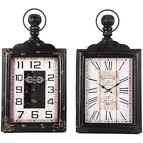 TxT Reloj de pared rectangular con Perchero de metal, color blanco envejecido 48,5 x 18 x 90,5 cm