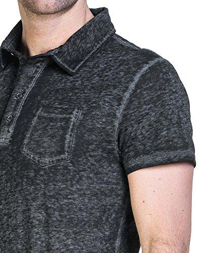 Deeluxe 74 - Polo dünne schwarze fleckige Brusttasche Schwarz