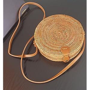 Runde Rattan Tasche/Korbtasche Handmade und mit traditionell bedrucktem Futter (Umhängetasche, Vintage Ata Bali Bag)