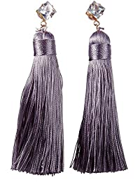 THE BLING STUDIO - Grey Colour Fringe Long Tassel Dangler Drop Earrings With Dimond Studded Alloy Hook