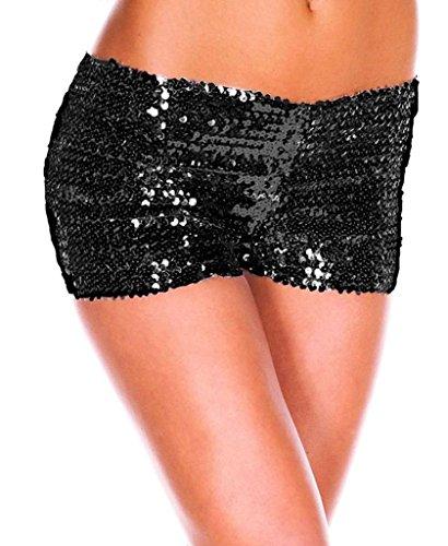 Bigood Vogue Paillette Short pour Femme Sexy Pantalon Court Polyester Noir