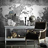 LONGYUCHEN Benutzerdefinierte 3D Seide Wandbild Tapete Retro Nostalgie Welt Karte Wand Büro Wohnzimmer Sofa Hintergrund Wand Tapete,60Cm(H)×120Cm(W)