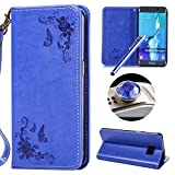 Etsue Samsung Galaxy S6 Edge Plus Cover Portafoglio,Samsung Galaxy S6 Edge Plus Custodia Blu,Antigraffio Protettivo Coperture in Pelle,Vintage Fiori Motivo Puro PU Flip Book Wallet Leather Case Cover per Samsung Galaxy S6 Edge Plus+Blu Pennino e scintillio di Bling Diamond Dust Plug colora Casuale-#Blu