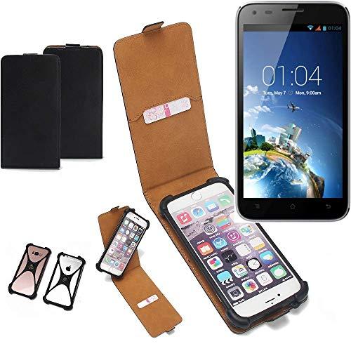 K-S-Trade Flipstyle Hülle für Kazam Trooper X5.0 Handyhülle Schutzhülle Tasche Handytasche Case Schutz Hülle + integrierter Bumper Kameraschutz, schwarz (1x)