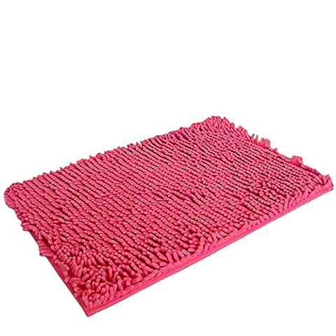 Saingace® 40 * 60cm doux shaggy non dérapant tapis de bain absorbant tapis de salle de douche tapis (Rose chaud)