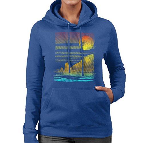 Landscape Painted With Tea Women's Hooded Sweatshirt Royal Blue