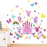 Rubybloom Designs Fairy Castle, Rainbow, Butterfly & Flowers Peel & Stick Printed Wall Vinyl Stickers