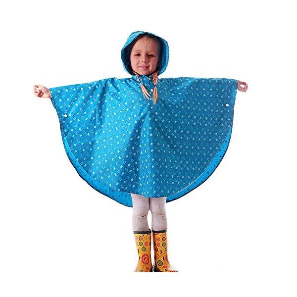 YBWEN Impermeable de los niños Estudiante al Aire Libre Senderismo Montar Impermeable de los niños Azul Capa Poncho… 1