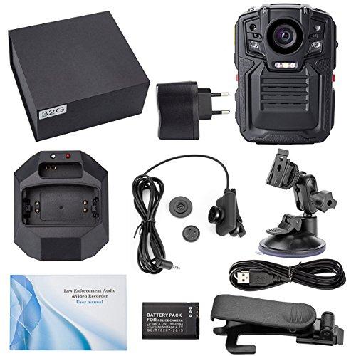 Ir-video-cam (Angin-Tech Infrarot-Nachtsicht HD 1080P Polizei Körper Getragen Video Kamera Sicherheit IR Cam Errichtet in GPS Unterstützung Bewegungserkennung + 32GB TF Karte Kit 3)