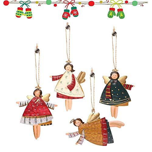 4 Stück Weihnachtsbaum Anhänger Ornamente Tanzender Engel Zinn Metall Urlaub Dekoration Weihnachtsschmuck Weihnachten