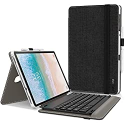 Infiland Clavier Coque Compatible avec Galaxy Tab A 10.5 2018, [AZERTY] Détachable Clavier avec Haute Qualité Étui Housse pour Samsung Galaxy Tab A 10.5 Pouces SM-T590/T595, Noir
