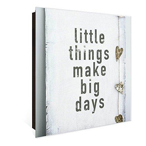 banjado Großer Schlüsselkasten aus Glas | Schlüsselbox mit 50 Haken | beschreibbare Glastür Scharnier Links | als Magnettafel nutzbar | Schlüsselaufbewahrung 30cm x 30cm | Motiv Little Things