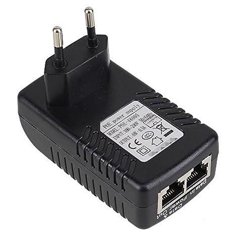 WEONE PoE Alimentation Over Ethernet Adapter EU Plug AC 100-240V 50 / 60Hz à DC 48V 0.5A