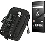 K-S-Trade Belt pouch/holster for Sony Xperia Z5 Premium, black | Extra compartments with space for Power bank, hard drive, etc (TM)