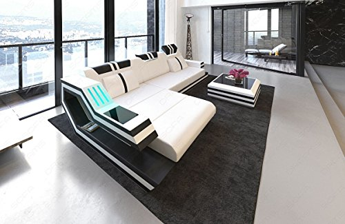 Sofa Dreams Ledersofa Ravenna in L Form Auch mit Bettfunktion und LED Licht