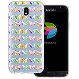 mobilefox dessana Aquarell Tier Pattern Transparente Silikon TPU Schutzhülle 0,7mm Dünne Handy Tasche Soft Case für Samsung Galaxy J7 (2017) Schmetterling