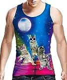 Idgreatim Männer 3D Print Katze Ärmelloses Shirt Jungen Graphic Tees M