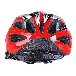 Uzexon Casco ciclista de ciclismo de MTB (18 aberturas), adultos Casco ligero unisex de bicicleta con visera desmontable y forro suave, sistema de rueda ajustable (Rojo/Negro)