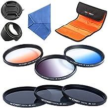 K&F Concept® 72mm 6 piezas Filtro kit de Lente Densidad Neutra Filtro para CANON Rebel T5i T4i T3i T2i, EOS 700D 650D 600D 550D 70D con 18-135MM Zoom Lente - Incluye Filtro Kit(ND2+ND4+ND8, Graduado Color Azul, Naranja, Gris)