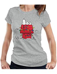 cb4554049 Peanuts Christmas Light House Snoopy Women's T-Shirt