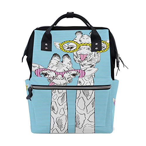 Rucksack Tasche niedlichen Tier Giraffe Paar Funky Brille Rucksack für Frauen Mutter Verstellbarer Gurt Outdoor lässig Tagesrucksack