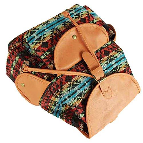 Sammua Mädchen Leder und Canvas Streifen Rucksack mit Kordelzug Schultertasche Freizeit Daypack Rucksack Bookbag - Schwarz&Weiß Braun
