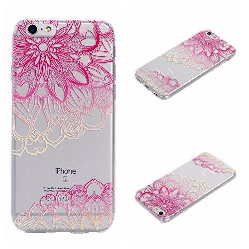Qiaogle Telefon Case - Weiche TPU Case Silikon Schutzhülle Cover für Apple iPhone 7 (4.7 Zoll) - DD04 / Grün Blume DD13 / Große Pink Blume
