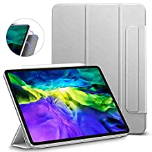 ESR Rebound Magnetic Smart Case for iPad Pro 11 2020 & 2018,Convenient Magnetic Attachment,Auto Sleep/Wake Trifold Stand Case,Silver Gray