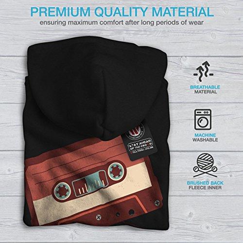Cassette Vieux Cool Ancien Femme S-2XL Sweat à capuche le dos   Wellcoda Noir