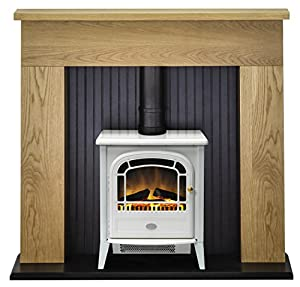 Adam Innsbruck Stove Suite in Oak with Courchevel Electric Stove in White, 48 Inch