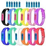 12 pcs Bracelets Anti-moustiques - DEET Free - Tous Les Bracelets Anti-Insectes et Insectes naturels Bracelet Anti-Moustique Réglable - Bracelets imperméables à la citronnelle pour Adultes et Enfants